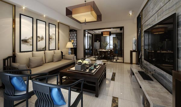 中式家装效果图-上海家爱建筑装饰工程有限公司